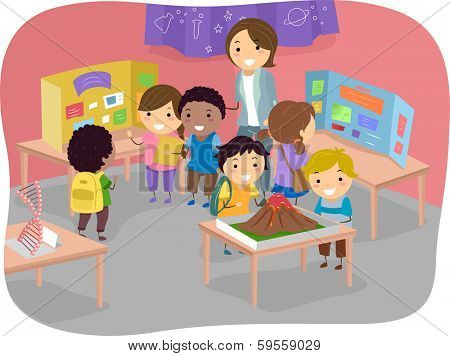 Illustration of Kids Displaying Their Works at a Science Fair