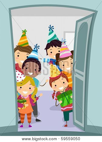 Illustration of Kids Wearing Party Hats Welcoming Guests at the Door