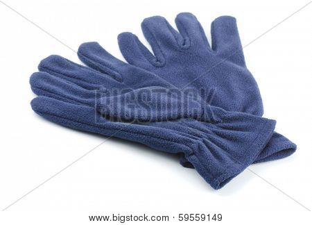 Pair of fleece gloves isolated on white