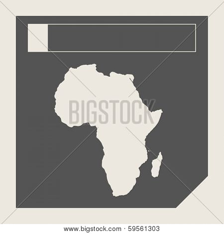 Africa map button in responsive flat web design map button isolated with clipping path.