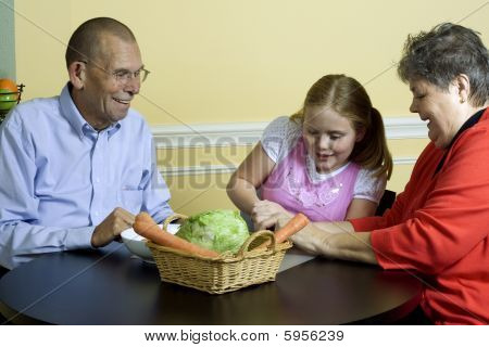 Young Girl With Grandparents