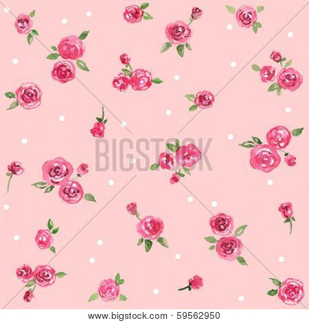 Watercolor seamless rose pattern