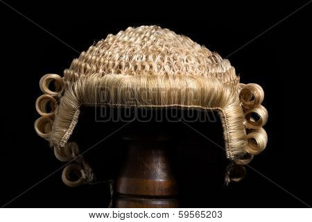 Front view of an antique horsehair lawyer's wig