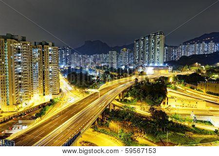 aerial view of the city overpass at night, HongKong, Asia
