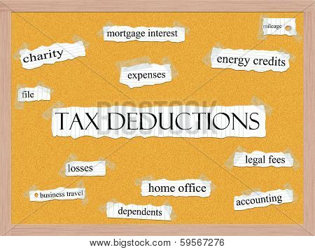 Tax Deductions Corkboard Word Concept