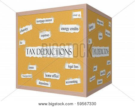 Tax Deductions 3D Cube Corkboard Word Concept