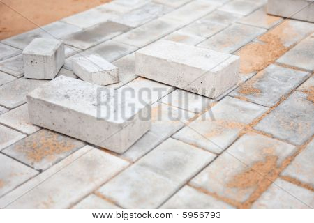 Under Construction Platform For Bungalow From Bricks