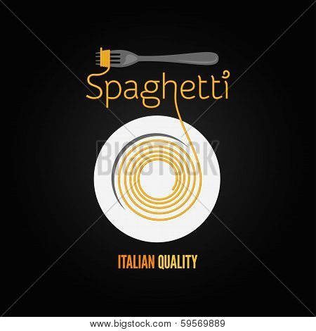 spaghetti pasta plate fork menu background
