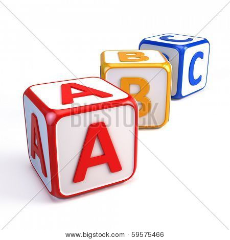 Alphabet ABC cubes isolated on white