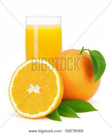 Orange juice and oranges with leaves isolated on the white background, clipping path included.