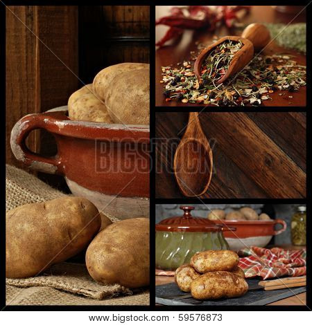 Rustic kitchen collage includes images of potatoes in a stoneware bowl being prepared for cooking, a measuring scoop filled with herbs and spices, and a vintage wooden spoon.