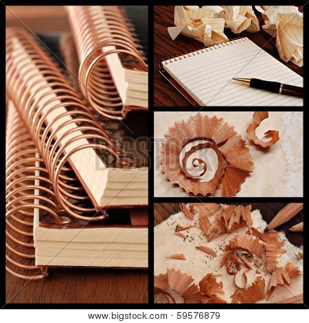 Writing concept. Collage includes images of spiral notebooks, ink pen on blank pad, and abstract macro of wood pencil shavings on parchment paper.