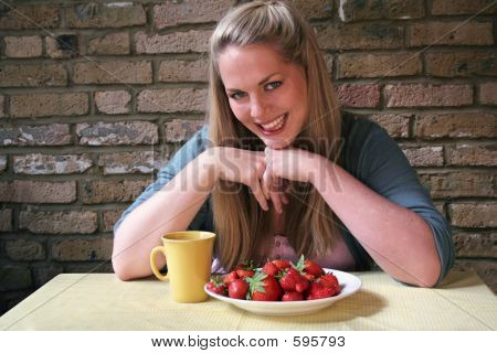Healthy Eating Strawberry Girl