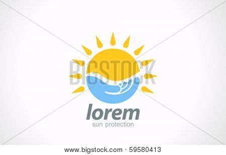 Sunblock vector logo design template. Sunscreen symbol. Sun protect care concept such as logotype. Sun in hand creative idea.