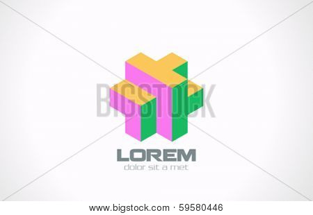 Puzzle abstract vector logo design template. Rebus concept. Coding programming symbol.