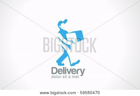 Delivery man carries package vector logo design template.  Messenger creative concept. Courier with parcel logotype idea.