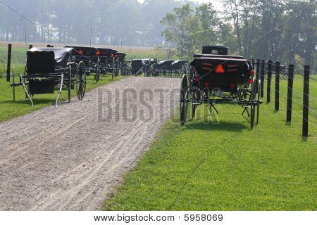 Amish Buggies na Igreja