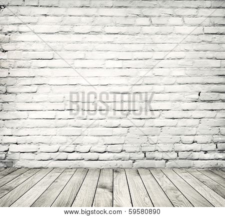 vintage room with brick wall and wooden floor background