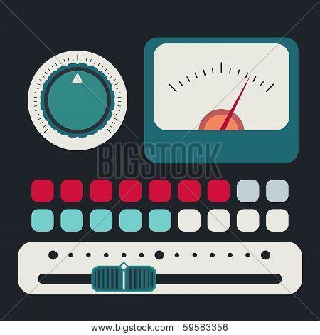 Control panel in a flat design
