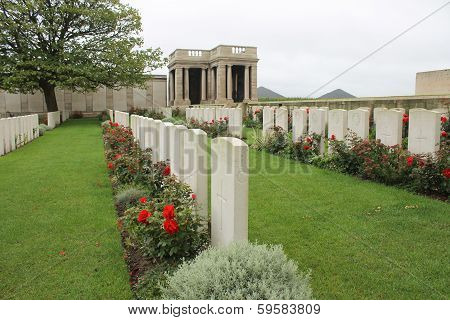 British First World War headstones in Dud Corner cemetery France