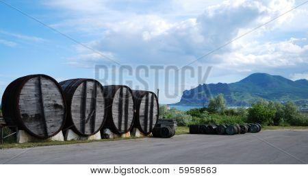 Crimean Landscape With Vine Barrels.