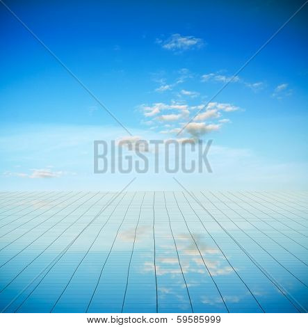 blue sky and mirror floor, cloudy background
