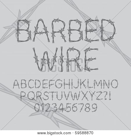 Barbed Wire Font And Numbers, Eps 10 Vector