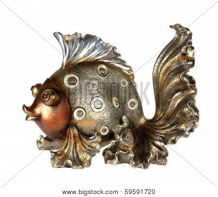 Fish Statuette Isolated On White Background