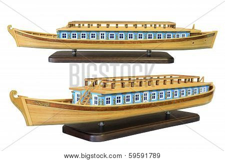 Layout Of The Old Russian Wooden Barges To Travel Along The Rivers On The White Background
