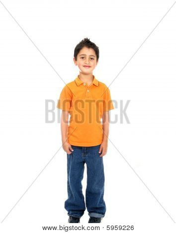 Child Smiling  Isolated Over A White