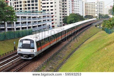 Singapore Mass Rapid Train Travels On The Track