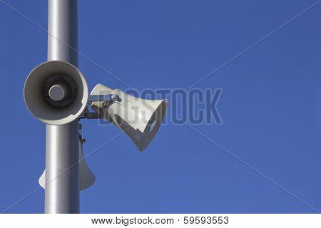 Megaphones On A Pole