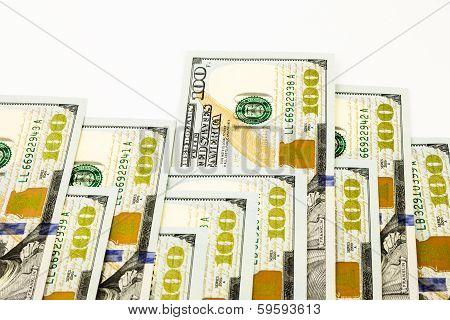 New Edition 100 Dollar Banknotes, Money For Bonus And Dividend Concept