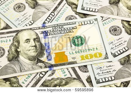 New Edition 100 Dollar Banknotes, Money For Pension And Retirement Concept