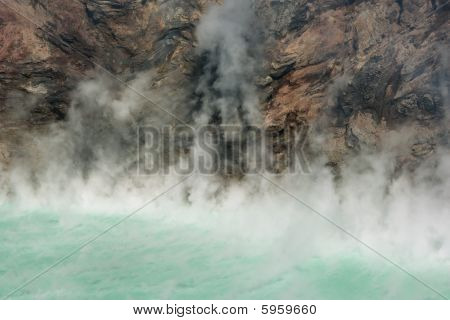Steaming Green Volcano Lake