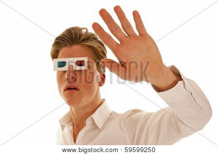 Scared Guy With 3D Movie Glasses