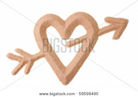 Sand Sculptured Sign Of Love