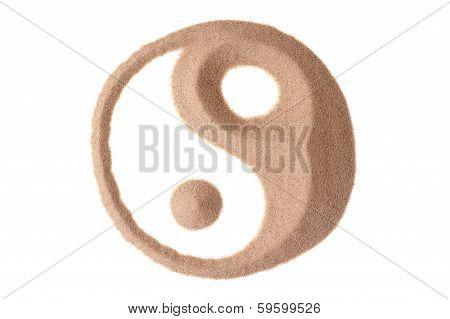 Yin Yang Symbol In Sand