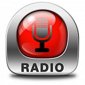 radio live stream on air Listen microphone music song audio or radio red and metal button or icon