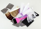stock photo of hair dye  - Hair dye kit and hair samples of different colors - JPG