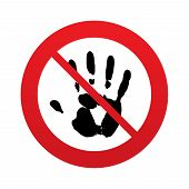 No Hand print sign icon. Stop symbol.