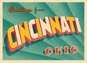 Vintage Touristic Greeting Card - Cincinnati, Ohio - Vector EPS10. Grunge effects can be easily remo