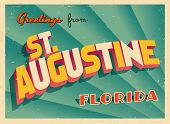 Vintage Touristic Greeting Card - St. Augustine, Florida - Vector EPS10. Grunge effects can be easil