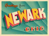 Vintage Touristic Greeting Card - Newark, Ohio - Vector EPS10. Grunge effects can be easily removed
