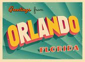 Vintage Touristic Greeting Card - Orlando, Florida - Vector EPS10. Grunge effects can be easily remo