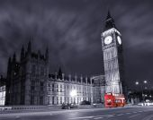 image of big-ben  - Big Ben and the Houses of Parliament with a red double decker bus - JPG