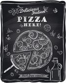 Chalk pizza with the cut off slice, chalkboard background.