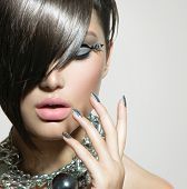 stock photo of silver-hair  - Fashion Model Girl Portrait - JPG