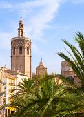 Valencia historic downtown El Miguelete and Cathedral  Micalet de la Seu in spain