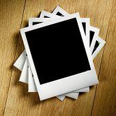picture of polaroid  - Polaroid Film Vintage empty photo cards on wood background - JPG